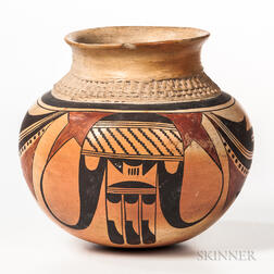 Contemporary Hopi Polychrome Pottery Jar