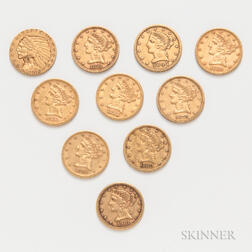 Nine $5 Liberty Head Gold Coins and a 1912-S $5 Indian Head Gold Coin
