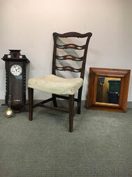Georgian Mahogany Ribbon-back Side Chair, a Carved Walnut Wall Clock, and a Maple Ogee Mirror.     Estimate $200-300