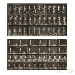Eadweard Muybridge (British, 1830-1904)      Two Plates from Animal Locomotion  : Plate 78 (Woman with a Fan Walking up a Ramp)