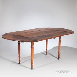"Cherry and Birch Drop-leaf Dining Table with ""Company Board"" Extensions"