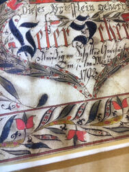 Pen and Watercolor Fraktur Reward of Merit for Peter Schern