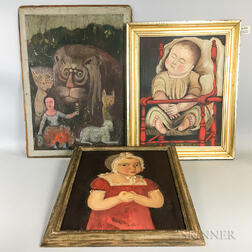 Three Reproduction Folk Art Paintings