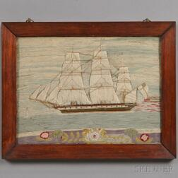 """Sailor's Woolwork """"Wooly"""" Ship Picture"""
