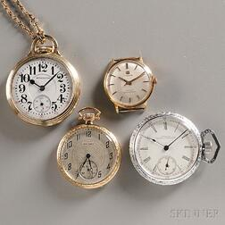 Three American Pocket Watches and a Tissot Wristwatch