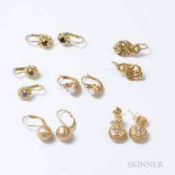 Six Pairs of Gold Gem-set Earrings