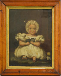 Continental School, 19th Century       Portrait of a Girl Holding a Cat