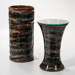 Peters & Reed Pottery Umbrella Stand and Spill Vase