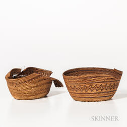 Two Small Northwest Polychrome Baskets