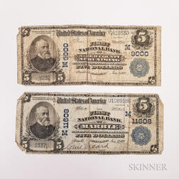 Two 1902 Michigan and Minnesota National Banknotes