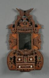 Chip-carved Tramp Art Mirrored Wall Box