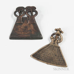 Two Senufo Cast Bronze Pendants