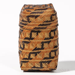 Southeast Double-weave Twill-plaited Lidded Basket