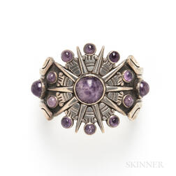 William Spratling Mexican Silver and Amethyst Aztec Calendar Cuff