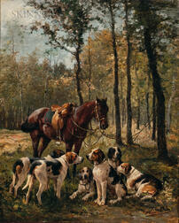 Charles Olivier De Penne (French, 1831-1897)      Hunt Scene with Dogs
