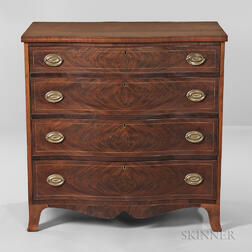 Walnut and Mahogany Veneer Inlaid Bureau