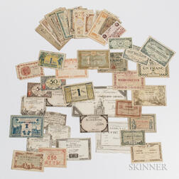 Group of French Regional Chambre de Commerce Paper Money and Nine Pieces of French Republic Paper Money.     Estimate $200-300