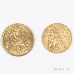 1910 $2.50 Indian Head Gold Coin and a 1913 British Gold Half Sovereign.     Estimate $200-400