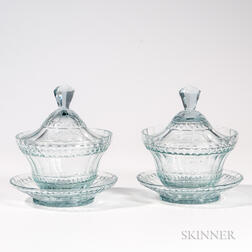 Pair of Anglo Irish Cut Glass Covered Bowls on Stands