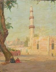 Edwin Lord Weeks (American, 1849-1903)    Resting in the Shade Before the Mosque
