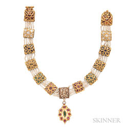 Gold Gem-set Choker