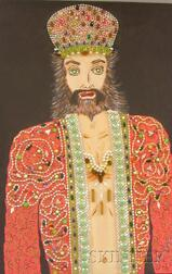 Unframed Mixed Media on Canvas Portrait of a Man with a Crown by      H. Kenneth Hersh  (American, 20th Century)