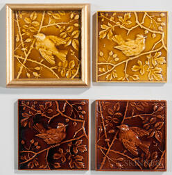 Four Minton China Works Bird Decorated Art Pottery Tiles