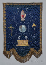 Embroidered and Painted Velvet Odd Fellows Banner
