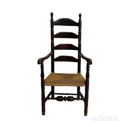 Early Stained Maple Ladder-back Armchair