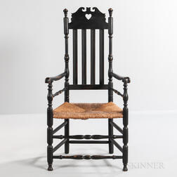 Early Black-painted Heart and Crown Armchair