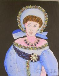 Unframed Mixed Media on Canvas Portrait of a Woman in a Blue Bonnet by      H. Kenneth Hersh  (American, 20th Century)
