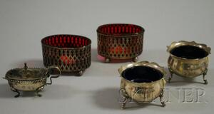 Two Pairs of Glass-lined Sterling Silver Footed Salts and an .800 Silver Lidded   Salt with Spoon