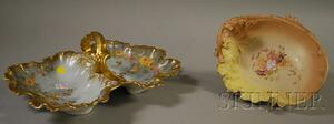 Two European Gilt and Hand-painted Floral-decorated Porcelain Dishes with Handles