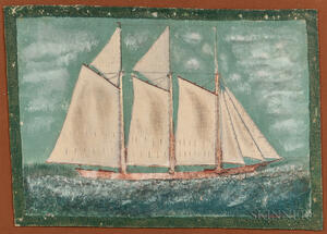 Rare Maritimes Painted Canvas Rug Picturing a Sailing Vessel