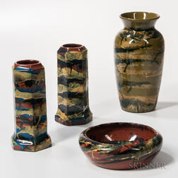 Three Peters & Reed Pottery Vases and a Bowl
