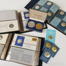 Group of Mostly Franklin Mint Commemorative Silver and Bronze Rounds and Medals