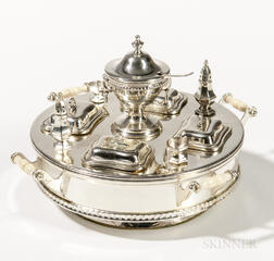 Miniature Sterling Silver Neoclassical-style Revolving Serving Centerpiece