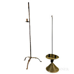 Two Wrought Iron and Tin Lighting Devices
