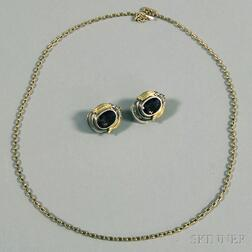 Pair of Lagos Caviar Gem-set Earrings and a Gold Necklace