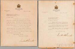 Roosevelt, Franklin Delano (1882-1945) Two Typed Letters Signed, 1932.