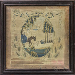 Framed Needlework Embroidery Depicting the Flight of Joseph