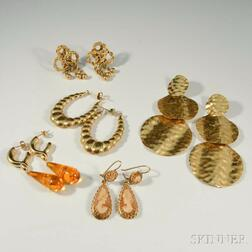 Five Pairs of 14kt Gold Earrings