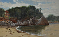 Alfred Thompson Bricher (American, 1837-1908)      Rocky Cove with House Nestled in the Trees