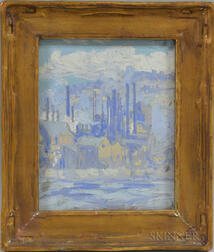 American School, 20th Century      Industrial Landscape in Shades of Blue
