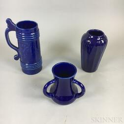 Three Hampshire Pottery Cobalt-glazed Vessels