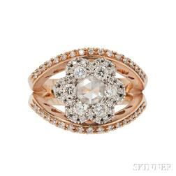 18kt Rose Gold and Diamond Ring, Favero