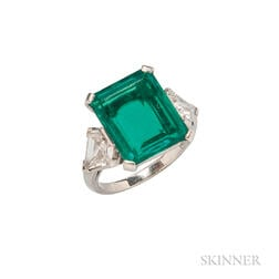 Platinum, Emerald, and Diamond Ring, J.E. Caldwell & Co.