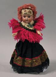 Small Schoenau & Hoffmeister Character Bisque Socket Head Doll