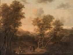 Continental School, 18th/19th Century    Travelers in a Country Landscape