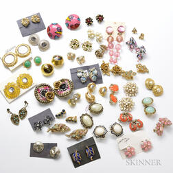 Large Group of Costume Earrings and Earclips